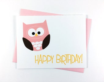 Birthday Card, Happy Birthday Card, Children's Greeting Card, Bird Card, Owl Card - Single