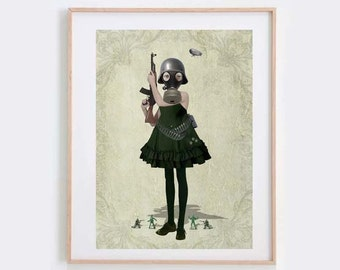 Soldier Girl Art Print - Soldier Girl And Rifle - Gas Mask Girl Art - Gas Mask Print - Wall Decor - Faith