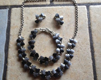 Gray Heart Necklace, Bracelet, and Earrings