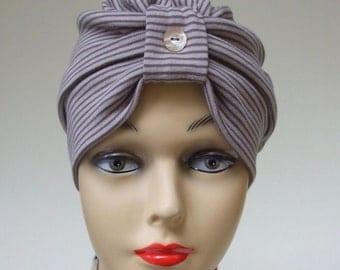 Organic Cotton Turban, Neutral Stripe, Women Chemo Headwear, Hair Covering, USA Cotton Hat, Alopecia Headwear, Premium Women Headwear, Med.