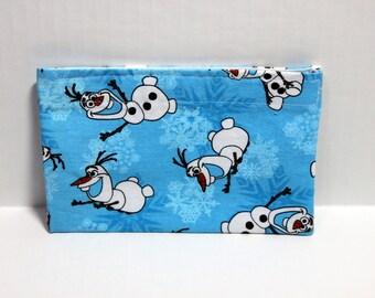 Reusable cloth snack bag- blue snowman