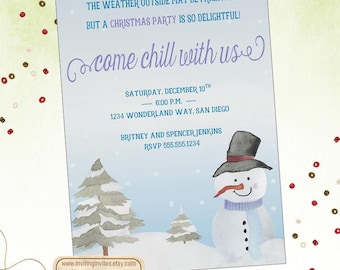 Christmas Party Invitation-Snowman Invitation-Holiday Party-Winter Invitation-Snow-Country | Digital File OR Printed