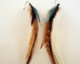 feather earrings hand made Color me natural blue