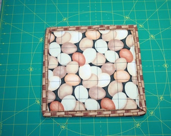 Quilted  pot holder, thermal backed