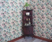 """Antique Doll House German Red Stain Wooden Corner Cupboard for Doll House  - 1"""" Scale"""