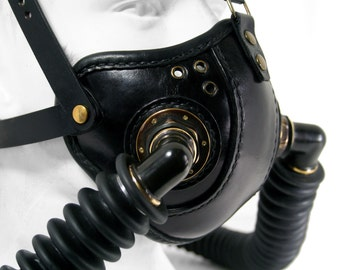STEAMPUNK LEATHER Mask black leather Double Respirator Raider design