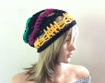 BeachWalk Slouchy Beanie - Beach hat  - teal, pink, yellow, black  - 100 pct cotton yarn - women girl teen - summer spring indie boho