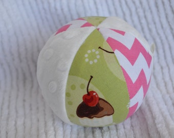 Cupcake Cloth Baby Toy Ball with Jingle Bell