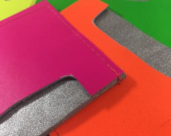 Neon leather Oyster card holder