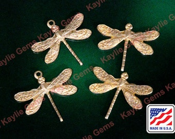 Dragonfly Charm One Ring Stamping Art Raw Brass Made in USA- S4 - 6pcs