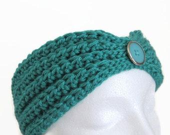 Ladies' Teal Ear Warmer - Women's Turquoise Ear Warmer -  Crocheted Teal Ear Warmer - Aqua Crochet Headband