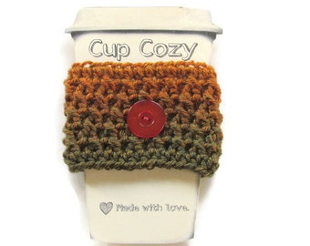 Ready To Ship - Crocheted Rust & Dark Green Coffee Cup Cozy - Crocheted Cup Sleeve - Crocheted Cup Warmer With Button
