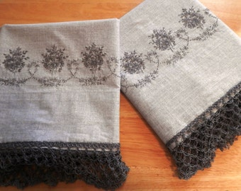 Gray Pillowcases, with Hand-Embroidered Midnight Mist Daisies and Lover's Knot Crocheted Lace
