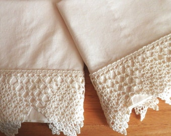Marbled Cream Cotton Pillowcases, Wide Crocheted Edging