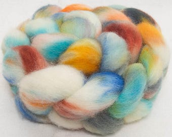 Hand dyed Cheviot, 100g, hand painted British wool top, roving, felting fibre, fiber, spinning wool, Rambler