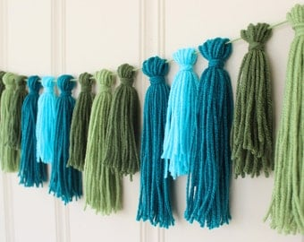 Yarn Tassel Garland No. 15 in Leaf Green, Olive, Peacock, and Bright Blue - Wall Hanging - Party Decor - Photo Prop -  Nursery Decor