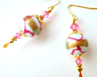Pink, white and gold earrings, crystal and lampwork glass, Cherries and Cream
