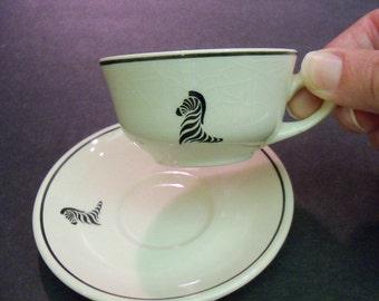 Vintage Ceramic Cream White and Black with ZEBRA Demitasse Cup and Saucer espresso restaurantware safari Africa