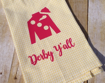 Yellow gingham hand towel with ponk Jockey Silk, Kentucky Derby hand towel, Derby decor