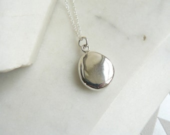Simple Silver Pendant Necklace, Heavy Silver Charm, Solid Silver Pendant, Minimalist Necklace