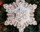 Snowflake Christmas Ornament Glass Glittered Gingerbread Winter Gift