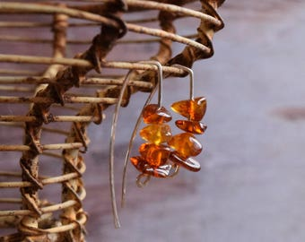 Modern Amber Minimalist earrings - Sterling silver and Amber Hook Earrings for Everyday wear, gift under 25