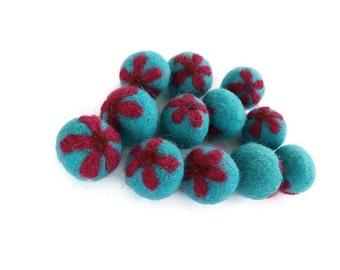 Aqua Felt Balls with Fushia Flower - 12 Pure Wool Beads 20mm