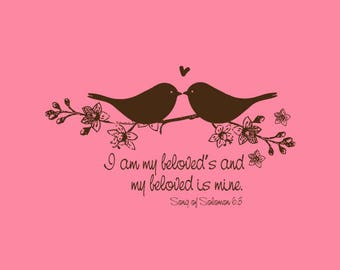 Birds in Love Stamp   Love Birds Stamp   Wedding Stamp   Bible Verses about Love   I am my beloved's   Rubber Stamp   A88
