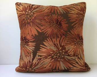 "20"" x 20"" Decorative Pillow Cover Brown/Rust/Russett/Burgundy Floral"