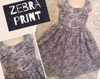 Zebra Safari Print * classic jumper style dress child CUSTOM SIZES 2 3 4 5 6 7 8 10 12 14 - your choice sewnbyrachel