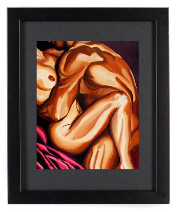Exceptional Bedroom Art, Sensual Artwork, Erotic Nude Art, 11 X 14 Print, Embrace,  Mature, Nude Artwork, Red Contemporary Artwork, Implied Nude, Print