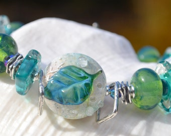 Reserve for Cheryl-LET'S GROW-Handmade Lampwork and Sterling Silver Bracelet