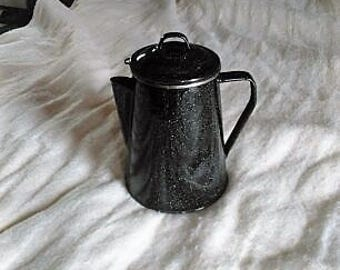 Enamel Coffee Tea Pot Black speckled Retro Vintage pot