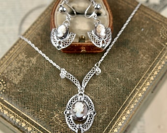 vtg sterling cameo necklace + earrings mother of pearl silver filigree art deco