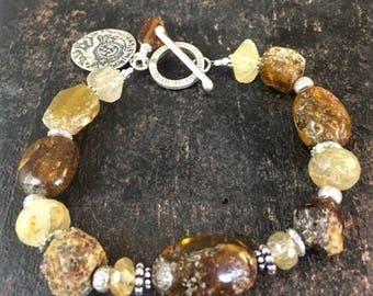 Baltic Amber Bracelet, Ancient Roman Glass Bracelet, Primitive Bracelet, Organic Bracelet, Chunky Bracelet