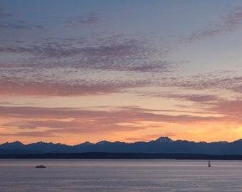 Seattle's Puget Sound Sunset - 11x14 Travel Photo Print