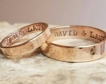 Gold Wedding Band Set Couples Wedding Rings in 14k Gold Filled Hammered Engraved Wedding Bands Custom Wedding Rings