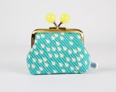 Metal frame coin purse with color bobbles - Raindrops on teal - Color mum / Japanese fabric / Ellen Luckett Baker / citron green yellow
