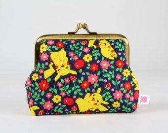 Metal frame coin purse - Pikachu and little flowers on nvy blue - Deep dad / Kawaii pokemon fabric / pink red green yellow / Pocket Monster