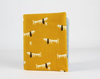 Big fabric card holder -  Bertie the dachshund / Dashwood studio / Jilly P / Mori Girls / Mustard yellow charcoal grey black white