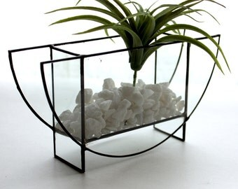 Modern Geometric Half Circle Glass Terrarium- Stained Glass Decor - Home Decor