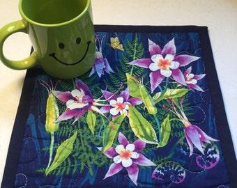 Quilted Blue Floral Mug Rug, Blue Floral Quilted Mini Placemat, Floral Quilted Snack Mat, Floral Quilted Coaster