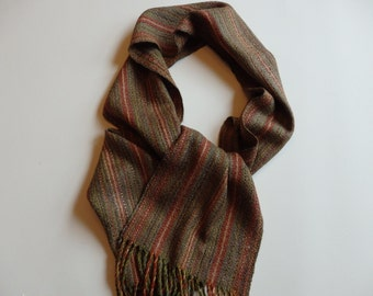 Handwoven Scarf in Baby Alpaca/Silk and Merino/Silk - Autumn Path for Men or Women