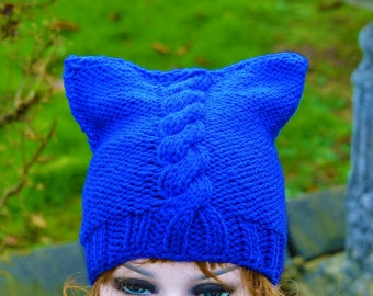 Royal Blue Womens Knitted Cat Hat Chunky Knit Beanie