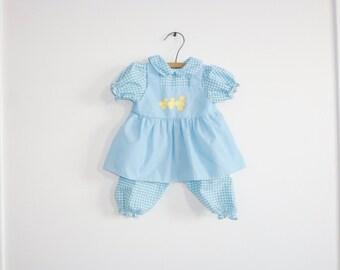 Vintage Blue Duck Baby Dress