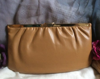 Vintage warm tan leather clutch or shoulder bag, butterscotch color leather chain shoulder bag, hinged light caramel color leather clutch