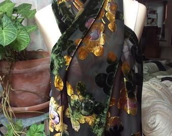 Vintage silk sheer velvet flowers scarf, forest green gold rust velvet flowers long scarf, velvet flowers long neck scarf, autumn colors