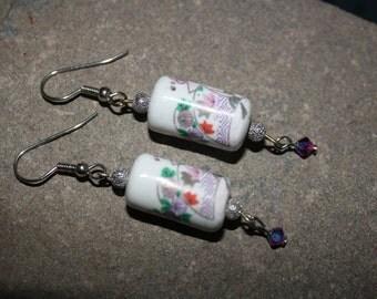 Porcelain & Swarovski Dangle Earrings