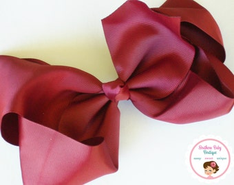 Fall Sale----Simple X-Large 5.5 Inch Hair Bow----Burgundy