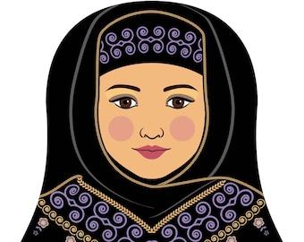 Saudi Wall Art Print featuring cultural traditional dress drawn in a Russian matryoshka nesting doll shape